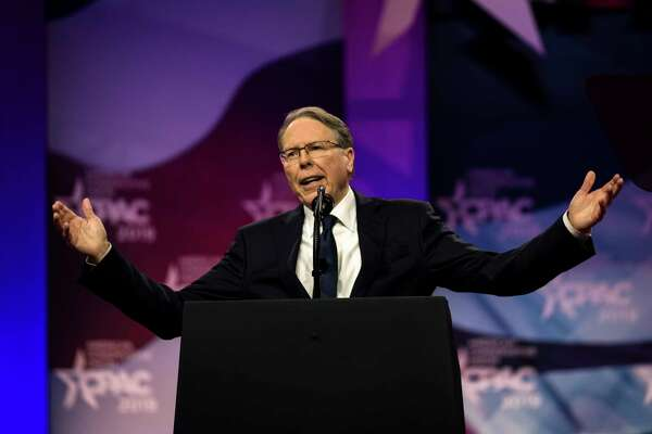 National Rifle Association CEO Wayne LaPierre speaks at the Conservative Political Action Conference in National Harbor, Md., in 2019.