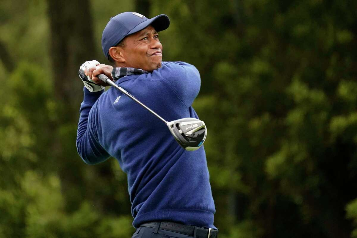 Tiger Woods watches his tee shot on the 12th hole during the first round of the PGA Championship golf tournament at TPC Harding Park Thursday, Aug. 6, 2020, in San Francisco.