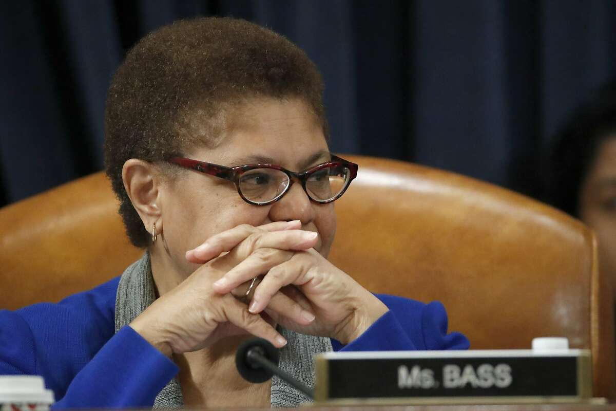 Rep. Karen Bass, D-Calif., listens during a House Judiciary Committee markup of the articles of impeachment against President Donald Trump, Dec. 12, 2019, on Capitol Hill in Washington.
