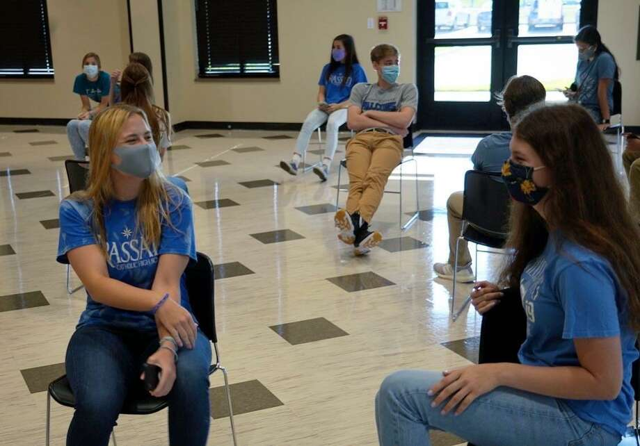 Frassati Catholic High School holds a student ambassador meeting prior to the reopening of the school Aug. 12. Photo: Courtesy Of Frassati Catholic High School