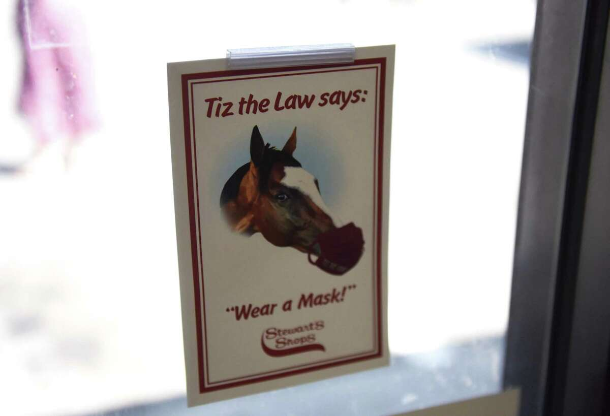 Belmont Stakes winner and Travers favorite, Tiz the Law is featured on a new mask advisory sign displayed at area Stewart's Shops on Thursday, Aug. 6, 2020, at Broadway and Circular Street in Saratoga Springs, N.Y. (Will Waldron/Times Union)