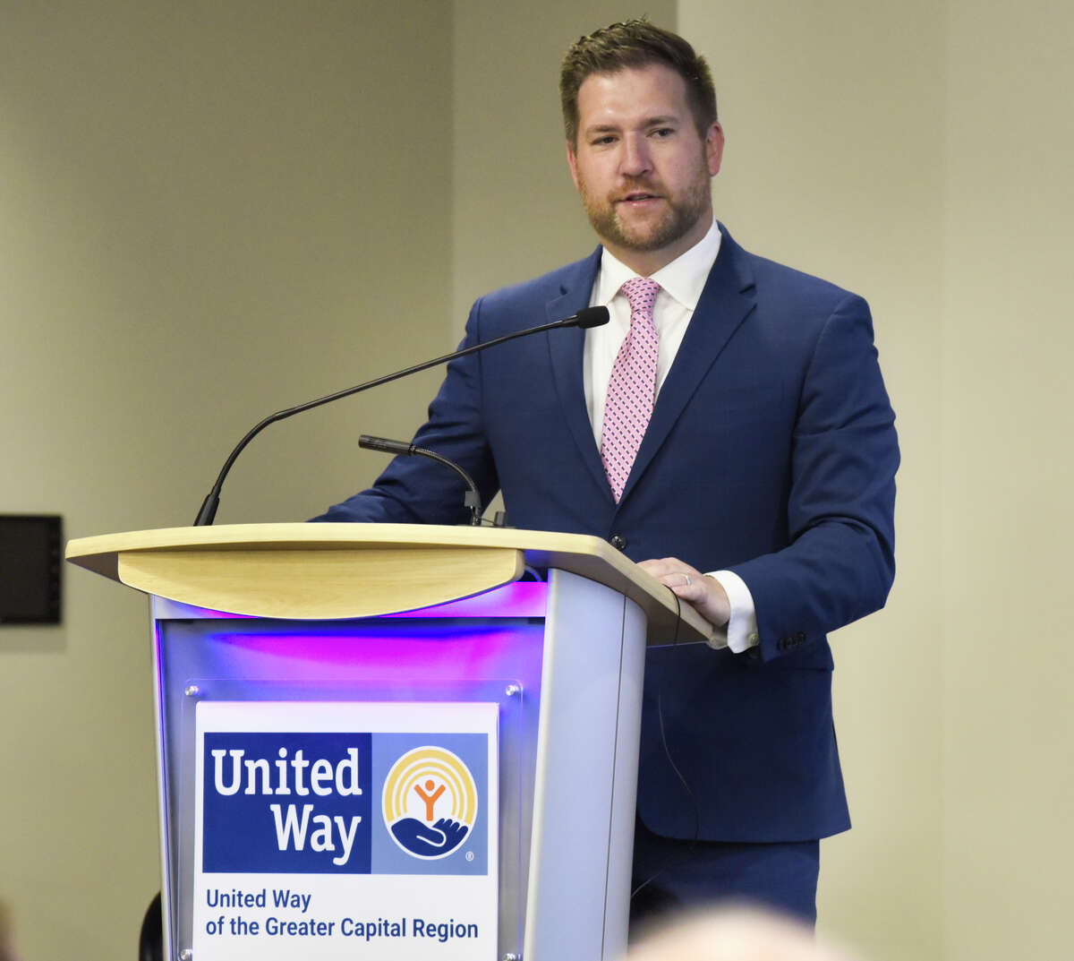 Peter Gannon, president and CEO of the United Way of the Greater Capital Region, speaks at the Hearst Media Center on Wednesday, Oct. 16, 2019, in Colonie, N.Y. (Paul Buckowski/Times Union)