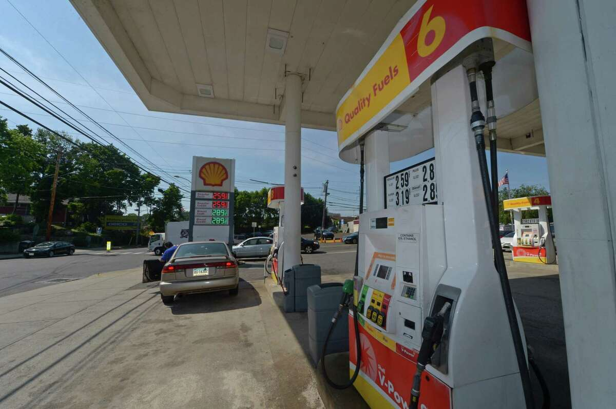 East Avenue businesses including the Shell gas station near the East Norwalk train station Tuesday, June 13, 2107, in Norwalk, Conn.