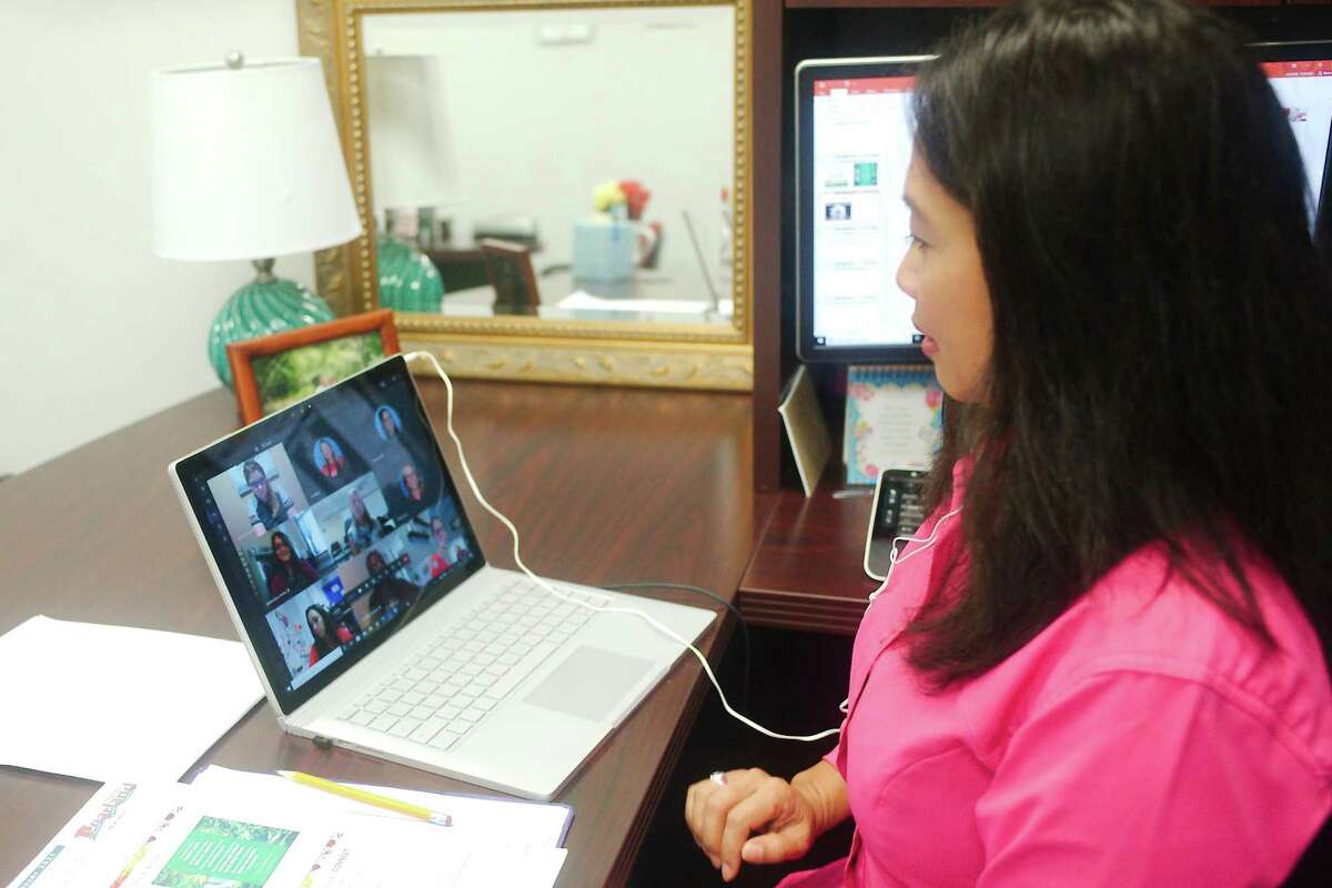 Chenda Moore, Pearland ISD coordinator of guidance services, meets with district elementary school counselors via group video conferencing. She and her teamare developing plans for virtual counseling of students and creating videos on self-care and conflict resolution.