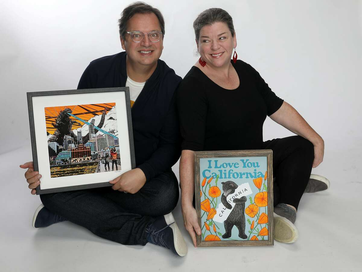 Artists Eric Rewitzer and partner Annie Galvin show their work on Thursday, December 5, 2019, in San Francisco, Calif.