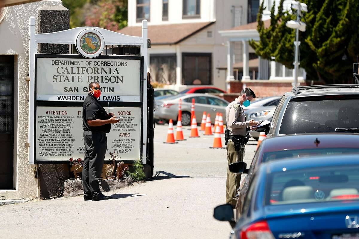 Main entrance to coronavirus-ravaged San Quentin prison in San Quentin, Calif., on Thursday, July 9, 2020.