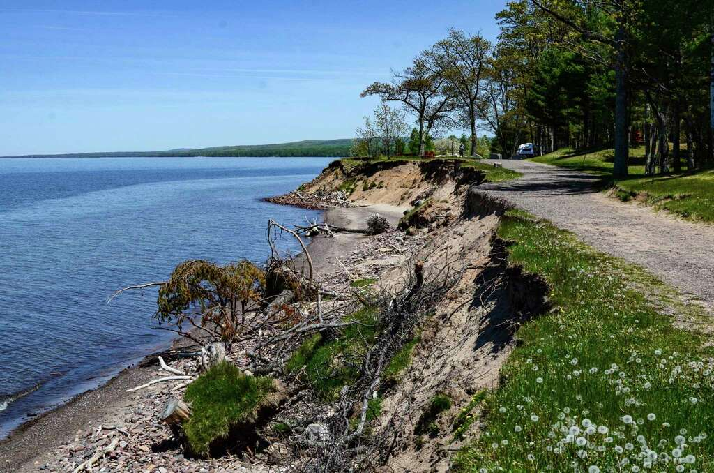 Great Lakes shoreline erosion at F.J. McLain State Park, Houghton County, Michigan | credit Michigan Department of Natural Resources