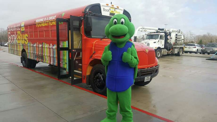 The Alvin ISD Book Bus, with mascot Sheldon A. Turtle, has been a popular project of the Alvin ISD Education Foundation. Photo: Submitted Photo