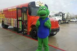 The Alvin ISD Book Bus, with mascot Sheldon A. Turtle, has been a popular project of the Alvin ISD Education Foundation.