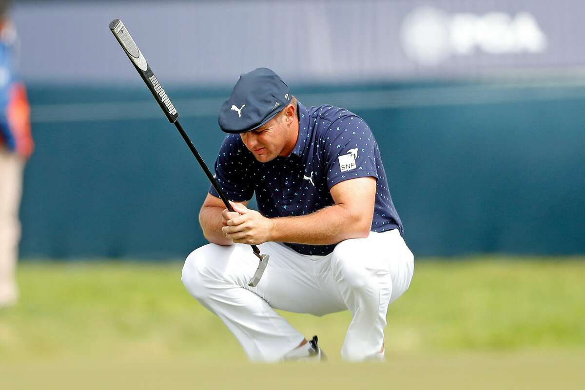 Bryson DeChambeau lines up a putt on 9th green during 1st round of PGA Championship at TPC Harding Park in San Francisco, Calif., on Thursday, August 6, 2020.