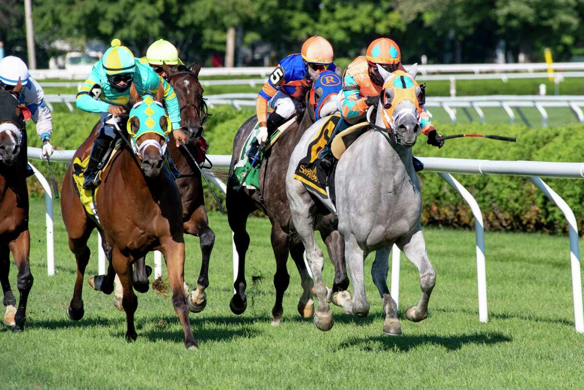 Jolting Joe ridden by jockey Tyler Gaffalione pulls ahead of the field to win the 18th running of The New Yotk Stallion Series, Cab Calloway Division at the Saratoga Race Course Thursday Aug. 6, 2020 in Saratoga Springs, N.Y. Photo by Skip Dickstein/Special to the Times Union
