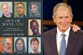 "This combination photo shows the cover image for ""Out of Many, One: Portraits of America's Immigrants"" by George W. Bush, left, and a photo of former President George W. Bush. Crown announced Thursday that the book will be published March 2. It includes 43 portraits by the 43rd president, four-color paintings of immigrants he has come to know over the years, along with biographical essays he wrote about each of them."
