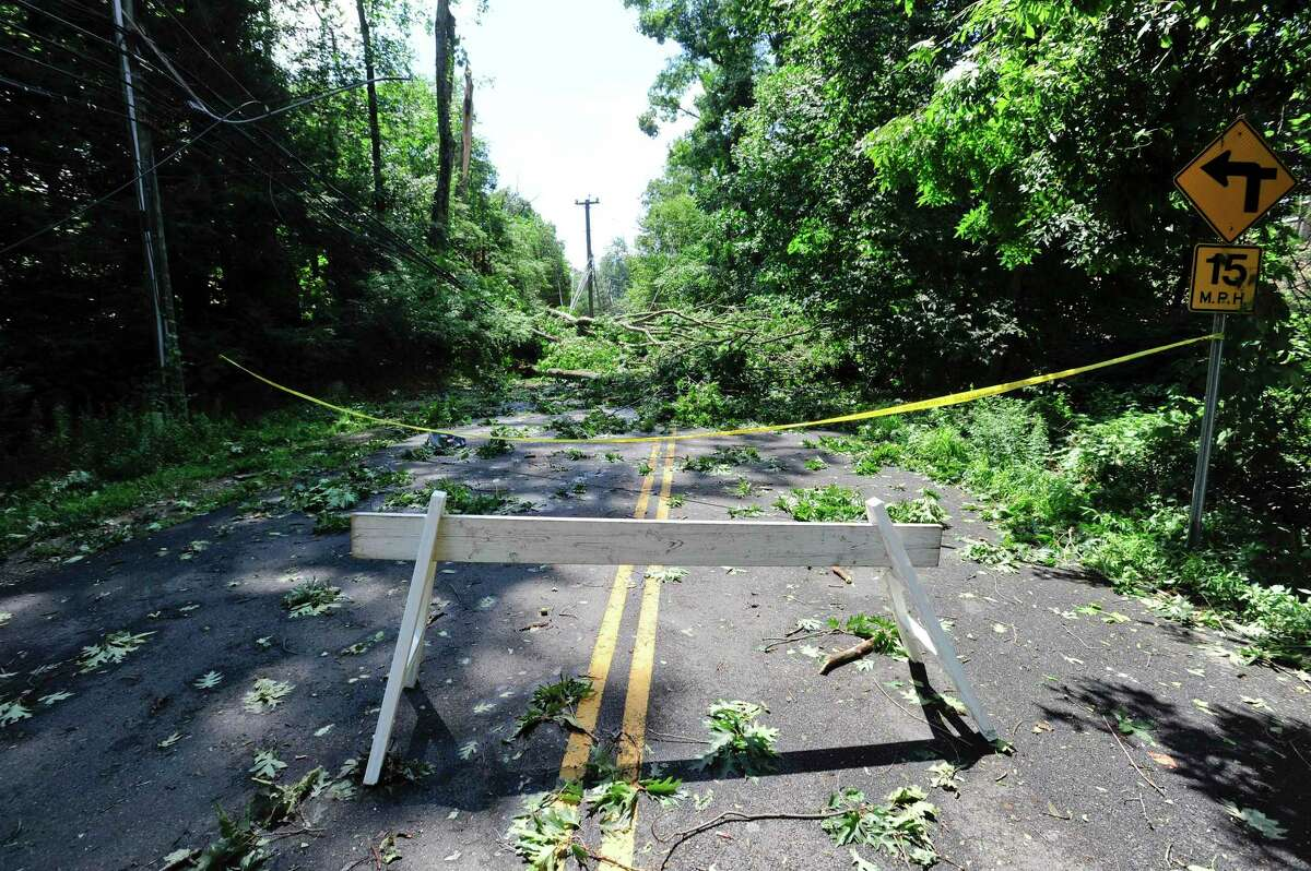 Westover Road at Long Close Road is closed on Wednesday, Aug. 6, 2020, in Stamford, Conn.