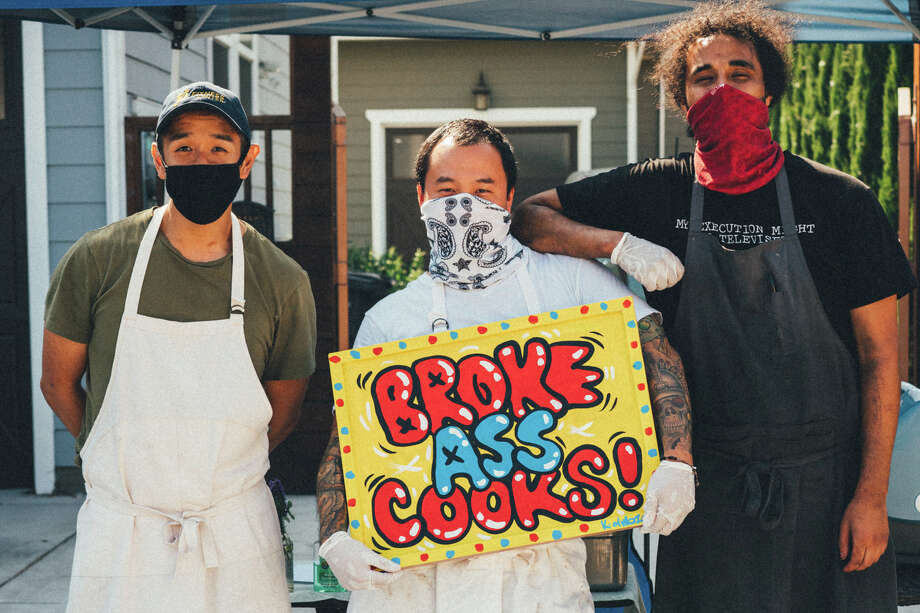 Brokeass Cooks is a new pop-up in Oakland started by Hoang Le, Keone Koki and Bilal Ali (left to right), three out-of-work chefs. Photo: Photo By Namchi Van