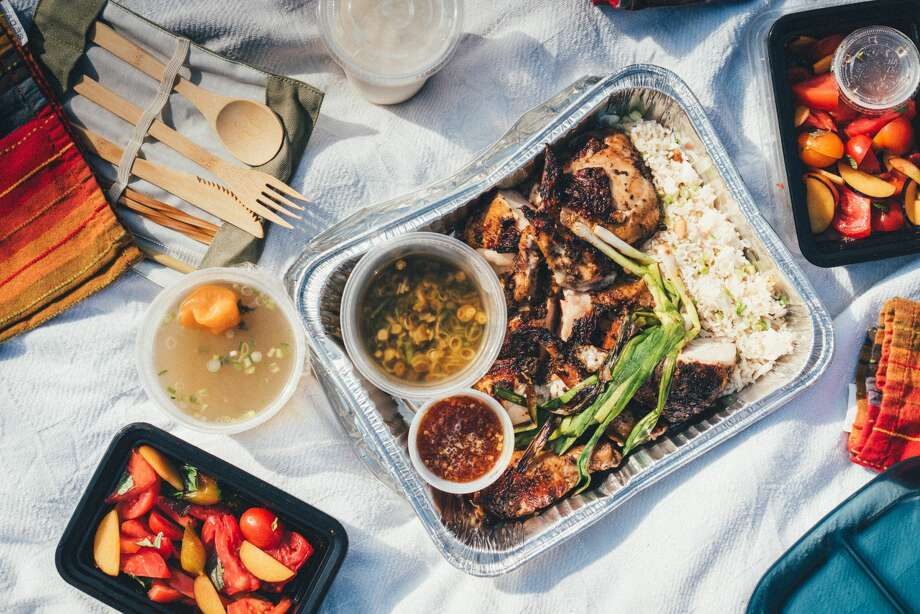 Brokeass Cooks is a new pop-up in Oakland selling family-style meals, such as jerk chicken with coconut rice and tomato plum salad. Photo: Photo By Namchi Van