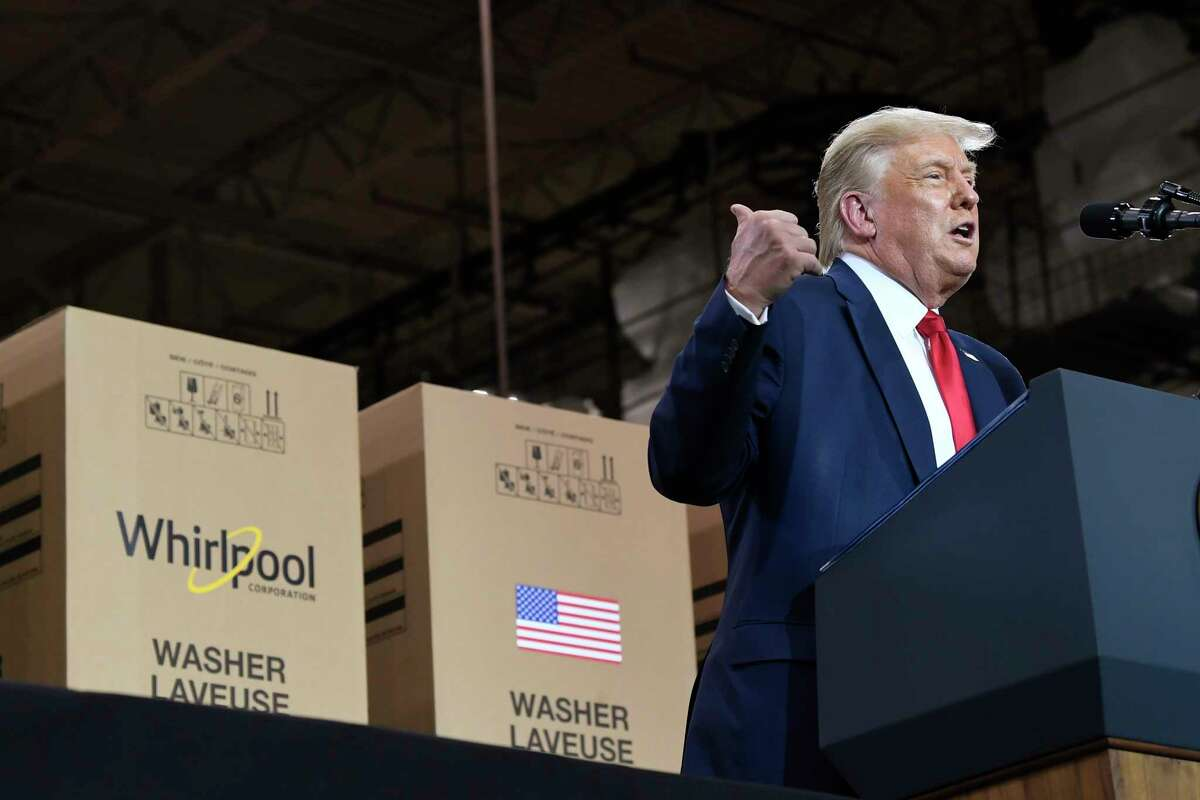 President Donald Trump speaks during an event at the Whirlpool Corporation facility in Clyde, Ohio, Thursday, Aug. 6, 2020. (AP Photo/Susan Walsh)