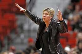In this Feb. 18, 2020, file photo, Texas Tech coach Marlene Stollings reacts to a play during the second half of an NCAA college basketball game against Baylor in Lubbock. ?(AP Photo/Brad Tollefson, File)