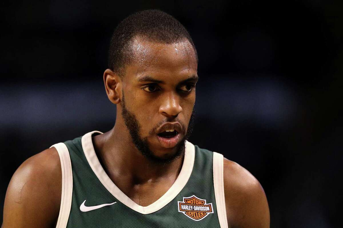 BOSTON, MA - APRIL 28: Khris Middleton #22 of the Milwaukee Bucks looks on during the first quarter against the Boston Celtics in Game Seven in Round One of the 2018 NBA Playoffs at TD Garden on April 28, 2018 in Boston, Massachusetts. (Photo by Maddie Meyer/Getty Images)
