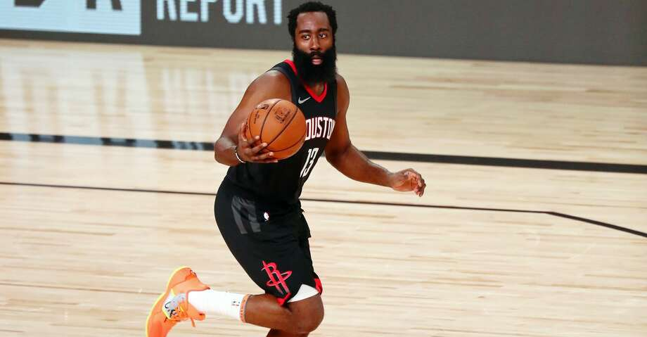 James Harden #13 of the Houston Rockets brings the ball up court against the Los Angeles Lakers in the second half at The Arena at ESPN Wide World Of Sports Complex on August 6, 2020 in Lake Buena Vista, Florida. (Photo by Kim Klement-Pool/Getty Images) Photo: Pool/Getty Images / 2020 Getty Images