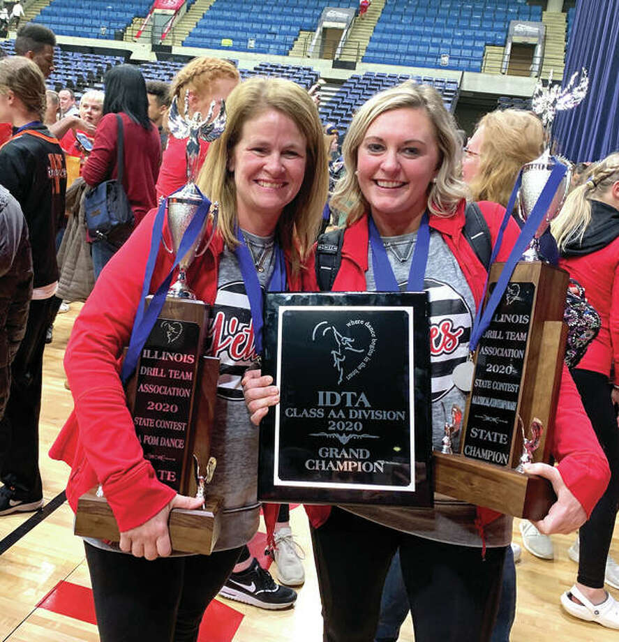Jacksonville High School J'ettes dance team coaches Tiffany Hickox (left) and Allyson Maul have joined a petition opposing a COVID-19-related plan to put dance teams in the same category as high-contact sports such as football, wrestling and boxing. Photo: Photo Provided