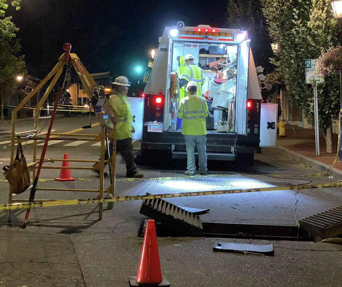 Elm Street has reopened after Eversource crews worked overnight after fire and smoke were seen coming up through the grates where transformers are located in vaults underground on Elm on Wednesday, Aug. 4.