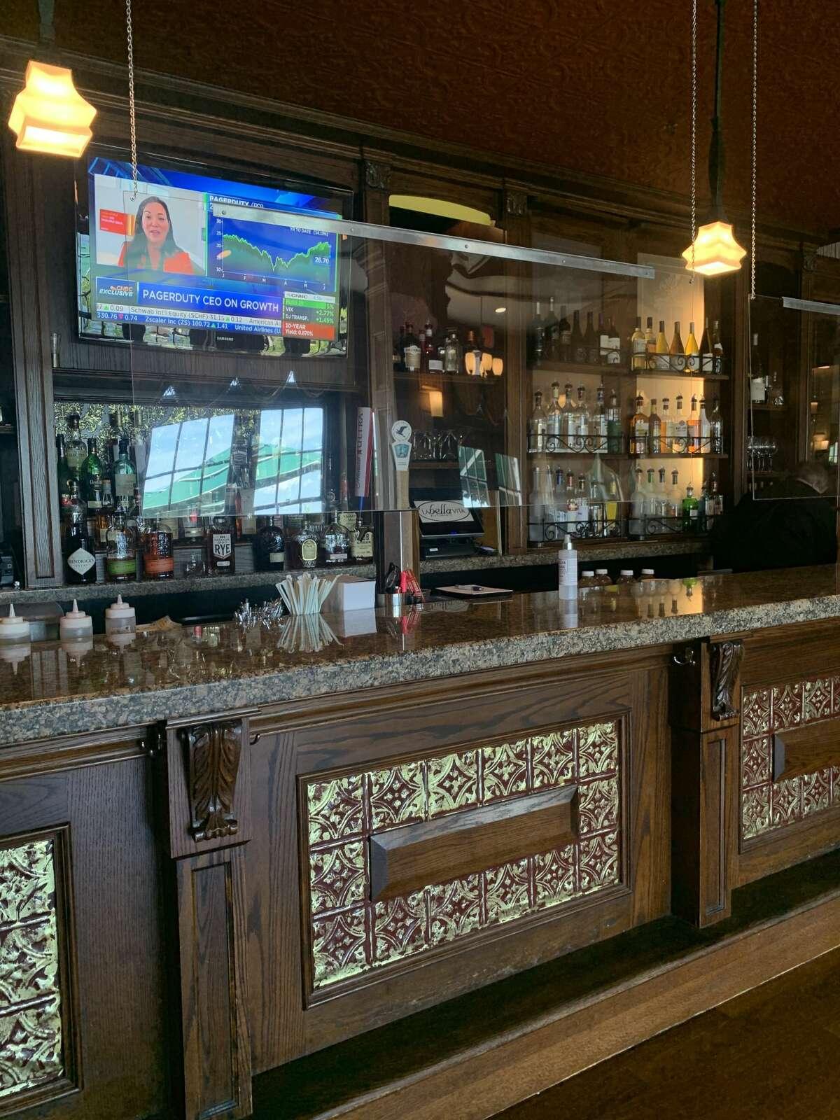 Plexiglass at the bar of The Sagamore.