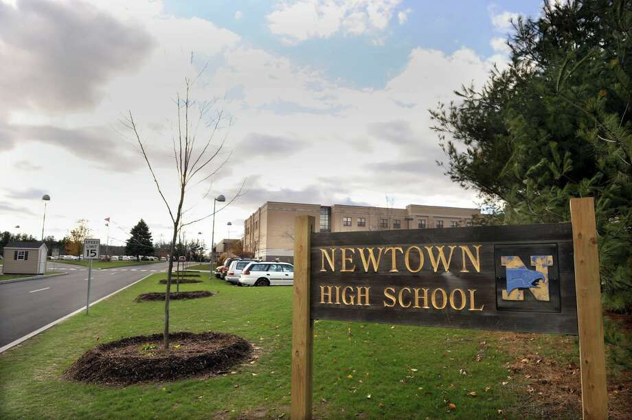 Newtown High School on Berkshire Road in Newtown, Conn., is one place people can go to shower following Tropical Storm Isaias. Photo: Carol Kaliff / The News-Times