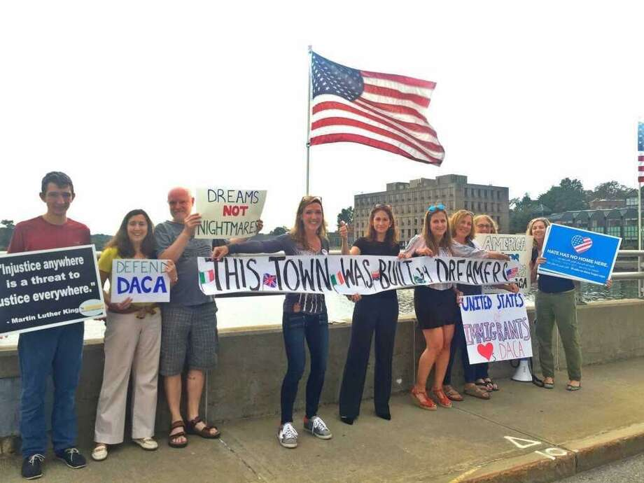 Protestors in support of DACA in Westport in 2017. Photo: Contributed Photo / Darien News contributed
