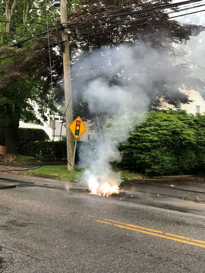 Wires down on West Avenue caused a fire in the aftermath of Tropical Storm Isaias. Photo: Noroton Heights Fire Department