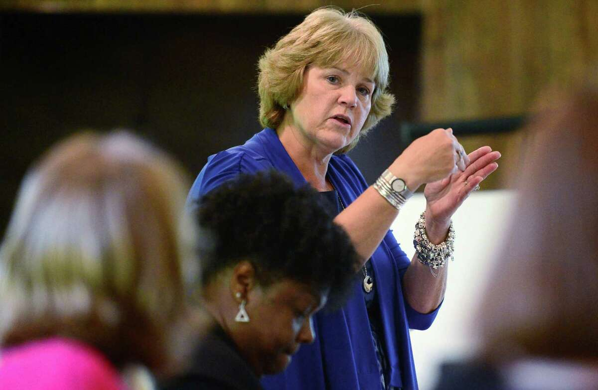 """Norwalk Public Schools Chief Academic Officer Dr. Brenda Myers speaks at a Norwalk Board Of Education retreat session Friday, July 26, 2019, in Norwalk, Conn. Myers announced her resignation from the district on Aug. 6, 2020 for """"personal and family health reasons."""""""