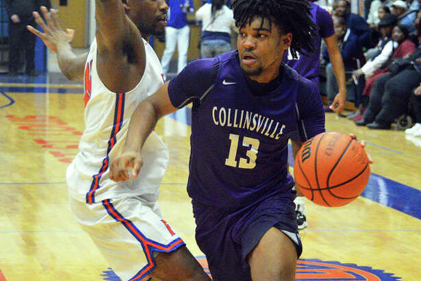 Collinsville senior Ray'Sean Taylor, right, drives to the basket during the championship game against Trinity Catholic in the Belleville East Classic. Taylor signed with SIUE but will miss his freshman season with a torn ACL.