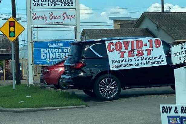 "A large sign strewn across a black Infiniti SUV that read ""COVID-19 TEST RESULTS IN 15 MINUTES!"" has drawn large crowds to the clinic for the last several weeks, per the lawsuit."
