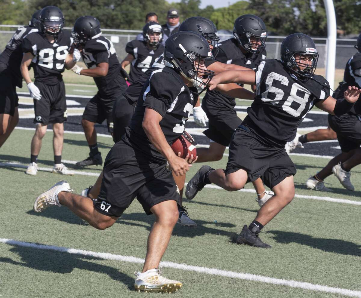 Big Spring football players run drills 8/07/2020 during practice. Tim Fischer/Reporter-Telegram