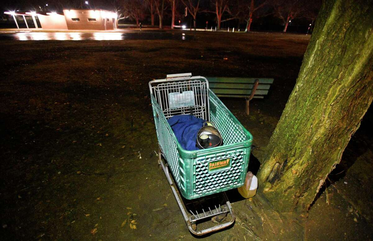 Belongings found in Cummings Park during the annual Point-in-Time homeless count in Stamford, Conn. on Tuesday, Jan. 23, 2018.