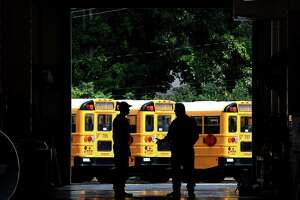 School busses at the Shenendehowa Central School District bus garage a prepared for the new school year on Friday, Aug. 7, 2020, in Clifton Park, N.Y. Gov. Andrew Cuomo said that schools can open this fall. (Will Waldron/Times Union)