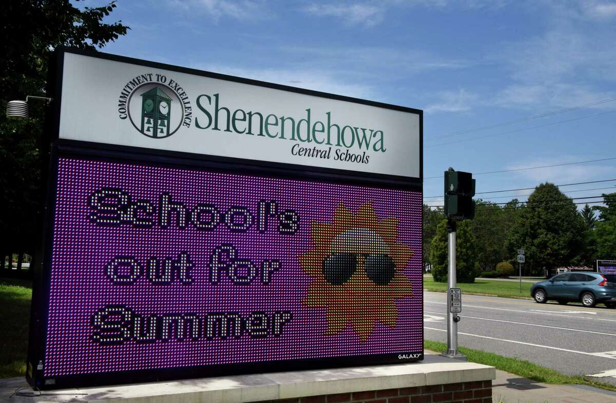 A sign celebrating summer break is displayed at the Shenendehowa Central School District campus on Friday, Aug. 7, 2020, in Clifton Park, N.Y. Gov. Andrew Cuomo said that schools can open this fall. (Will Waldron/Times Union)