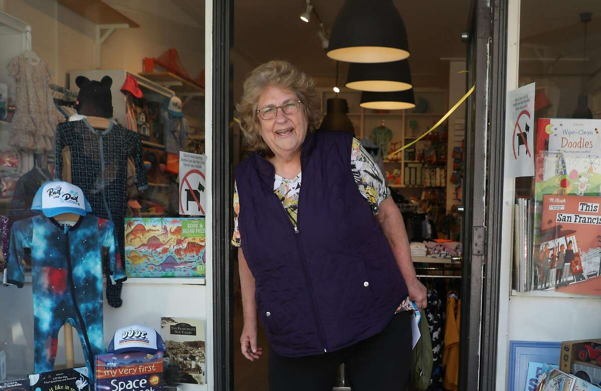 Carol Yenne, owner of Small Frys, a children�s store in Noe Valley for 36 years is seen in front of her store on Tuesday, May 5, 2020, in San Francisco, Calif.