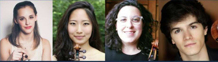 Chelsea Starbuck Smith, left, Julia Choi, Molly Goldman and Mitchell Lyon will appear in a chamber music concert outside Lounsbury House in Ridgefield, Aug. 12. Photo: Contributed Photo