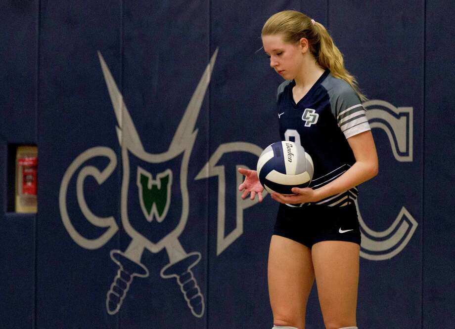 College Park right side hitter Mallory Madison (8) is seen before serving the ball during the third set of a District 15-6A high school volleyball match, Tuesday, Oct. 29, 2019, in The Woodlands. Photo: Jason Fochtman, Houston Chronicle / Staff Photographer / Houston Chronicle