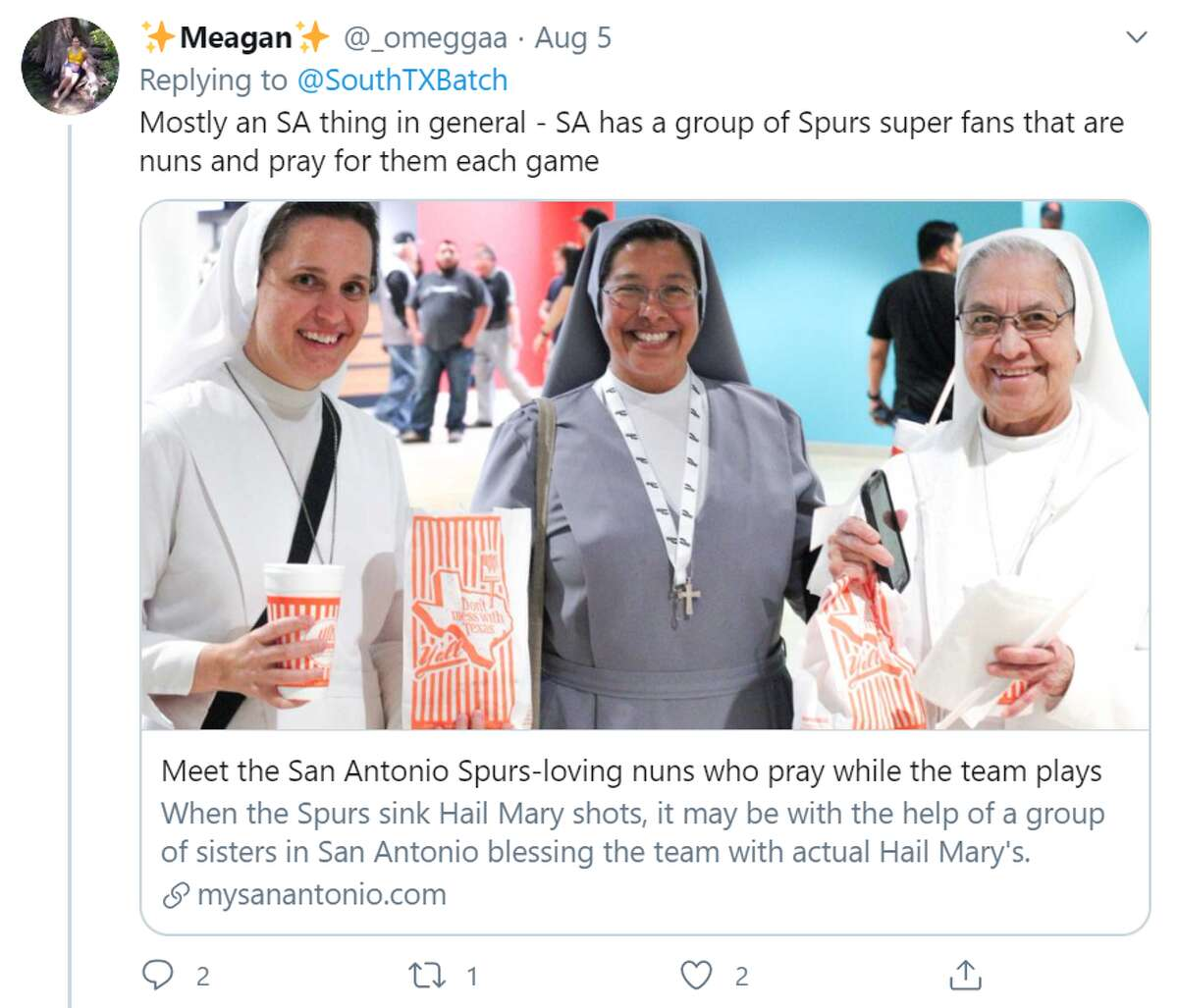 """@_omeggaa said """"Mostly an SA thing in general - SA has a group of Spurs super fans that are nuns and pray for them each game."""""""