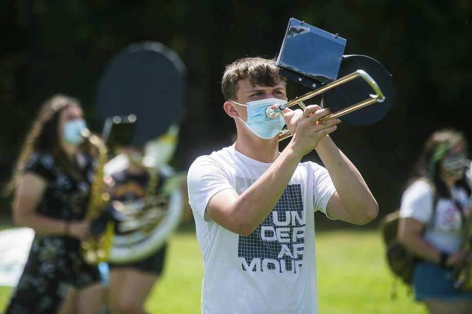 The Meridian Early College High School marching band rehearses Friday, Aug. 7, 2020 at the school. (Katy Kildee/kkildee@mdn.net) Photo: (Katy Kildee/kkildee@mdn.net)
