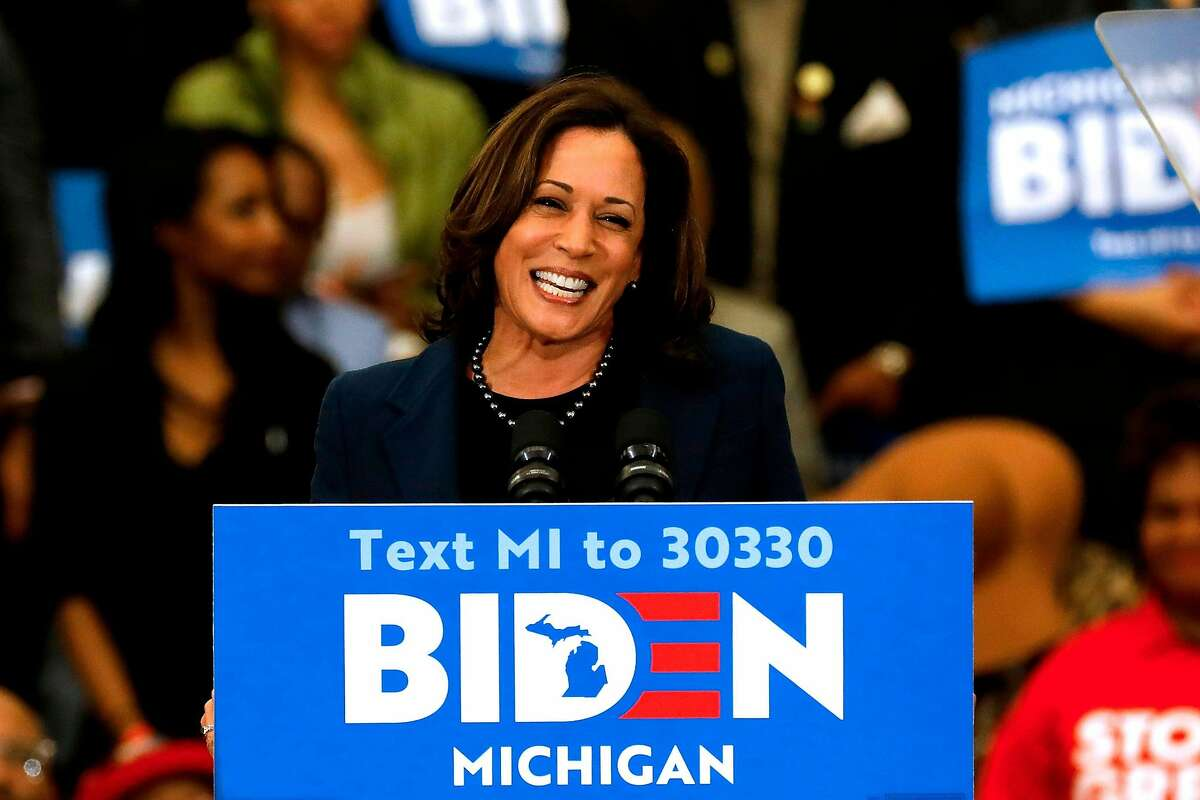 California Democratic Sen. Kamala Harris, shown endorsing presidential candidate Joe Biden in Detroit in March, would be setting her sights low if she went for the vice presidency.
