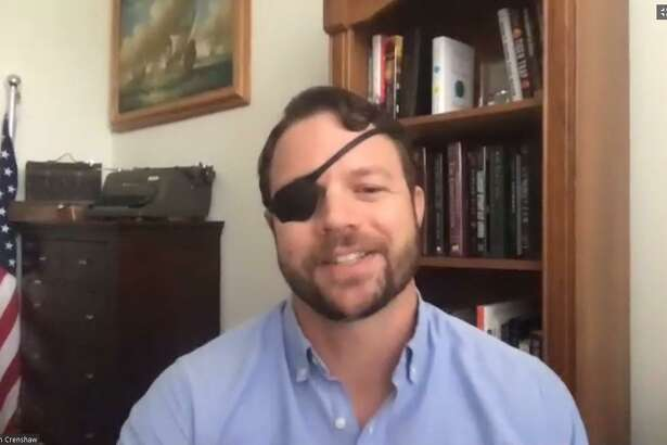U.S. Rep. Dan Crenshaw (R-Spring) talks to the Houston Northwest Chamber of Commerce about efforts to combat the effects of coronavirus.