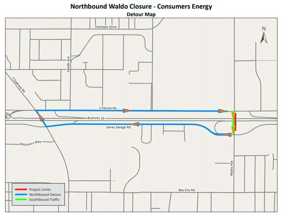 The City of Midland offered a detour route for drivers during a Consumers Energy Project that will close a portion of Waldo Avenue. (Map provided/City of Midland)