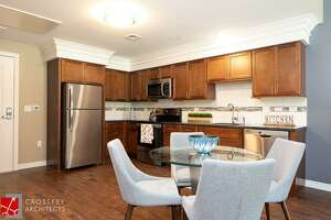 A kitchen in an apartment in the newly constructed The Royle at Darien.