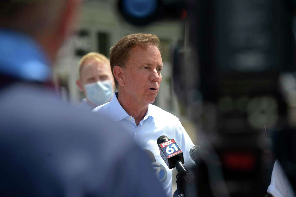 Governor Ned Lamont speaks at a press conference at Danbury High School. Lamont came to the city to survey damage from Tuesday's tropical storm Isaias. Friday, August 7, 2020, in Danbury, Conn.