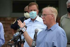 Mayor Mark Boughton speaks at a press conference held by Governor Ned Lamont at Danbury High School. Lamont was in Danbury to survey damage from Tuesday's tropical storm Isaias. Friday, August 7, 2020, in Danbury, Conn.