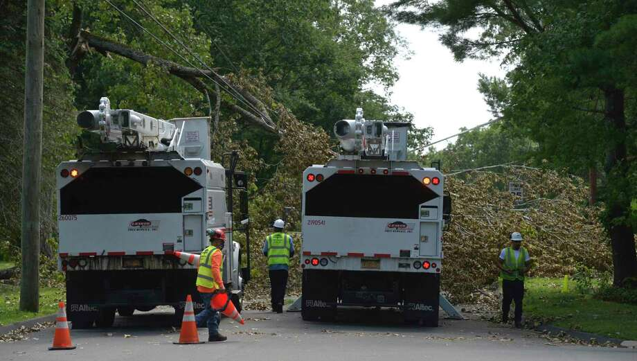 A crew shows up to remove a fallen tree from Tuesday's tropical storm Isaias. Judith Drive Friday, August 7, 2020, in Danbury, Conn. Photo: H John Voorhees III / Hearst Connecticut Media / The News-Times