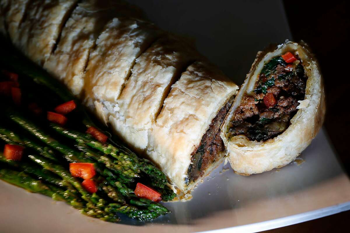 A vegan reinterpretation of the classic beef Wellington made by Tamearra Dyson, owner Souley Vegan, is displayed on a plate at Souly Vegan on Tuesday, November 21, 2017 in Oakland, Calif.