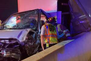 A man is in critical condition after the truck he was driving veered off the road on Interstate 69 Friday morning and hit a wrecker on the side of the highway.